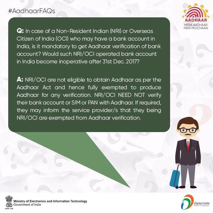 NRIs, OCIs need not link Aadhaar with Bank Account, PAN or SIM cards