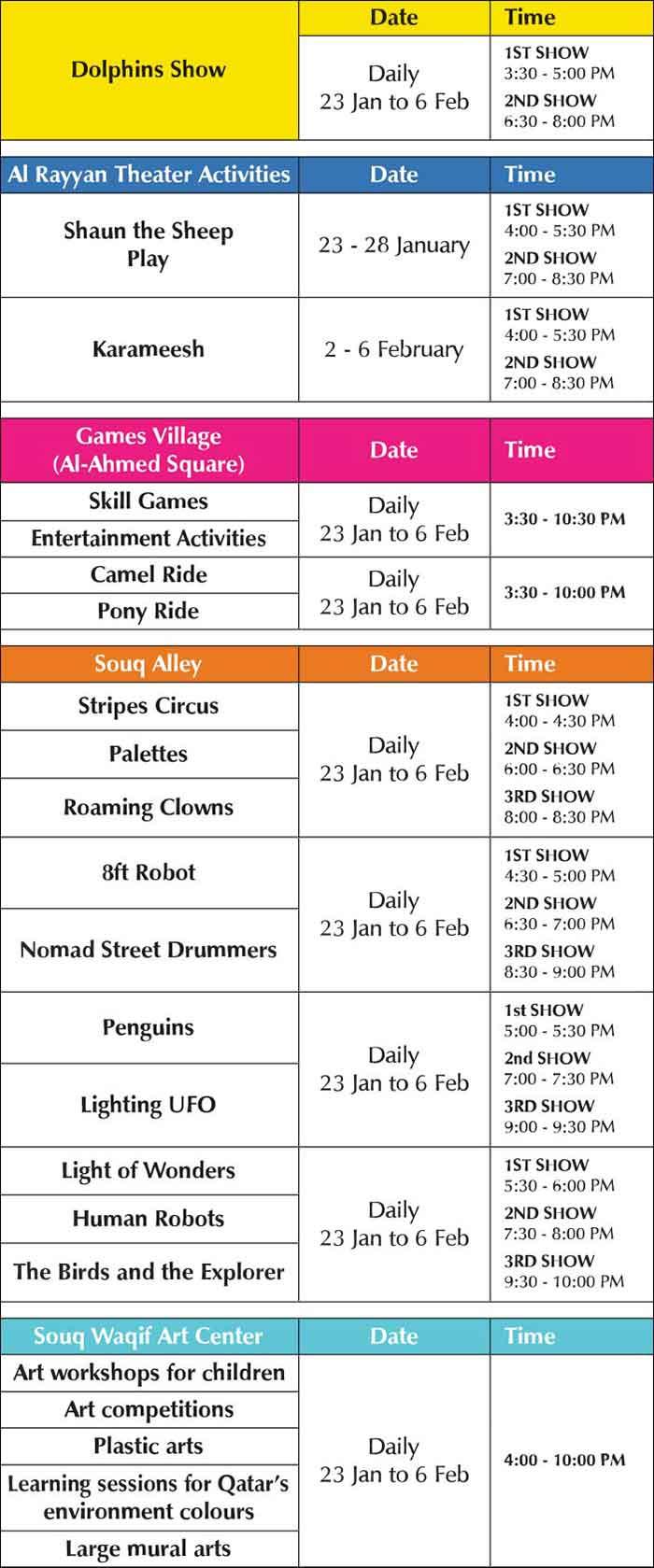SW Spring Festival Schedule